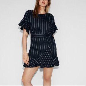 NWT Express wrap striped ruffle dress size S